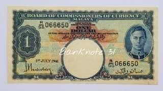 1941 Malaya KGVI $1 R/55 Original AU