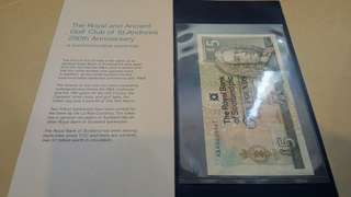 RBS 5 Pound Commemorative Royal & Ancient Golf Club of St Andrew with folder