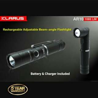 (Adjustable Angle, Magnetic Tail) KLARUS AR10 Micro USB Rechargeable Flashlight - 1,080 Lumens