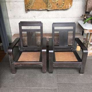 Art Deco arm chairs, sold as pair.