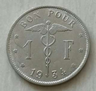 Belgium 1934 Franc Coin With Good Details.Diameter 23mm