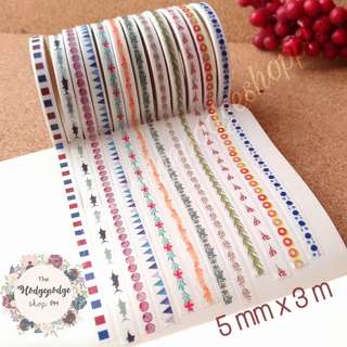 Japanese Watercolor Washi Tapes 5 mm x 3 m