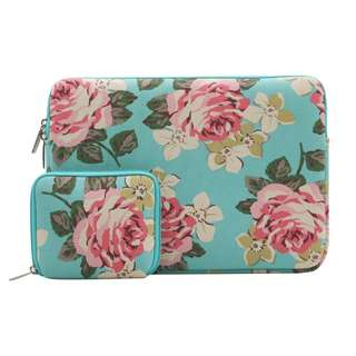[IN-STOCK] Mosiso Laptop Sleeve Bag for 11-11.6, 12, 13, 13-13.3, 14-15, 15-15.6 Inch MacBook Pro, MacBook Air, Notebook Computer with Small Case, Canvas Fabric Rose Pattern Protective Carrying Cover, Hot Blue