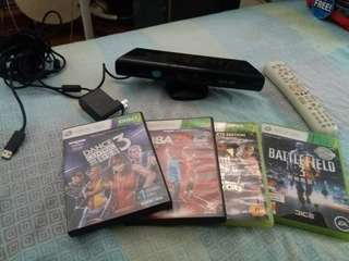 Xbox kinect with 4 games included