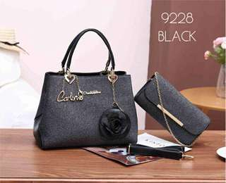 Carlo Rino Handbag 2 in 1 Black Color