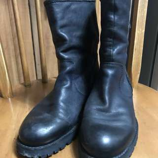 Navy Blue Leather Boots (Repriced)