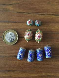 Cloisonné beads in blue and brown