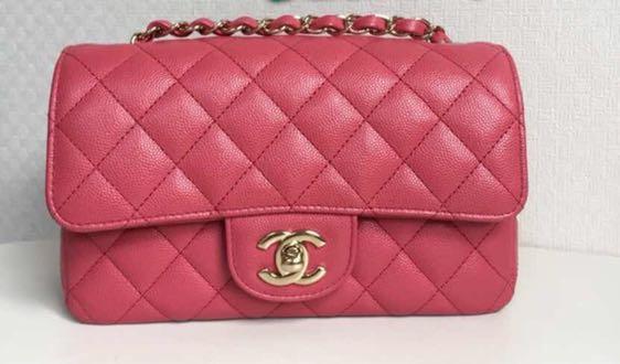 ed5c606c66f4 17C pink Chanel mini rectangular, Luxury, Bags & Wallets, Handbags on  Carousell