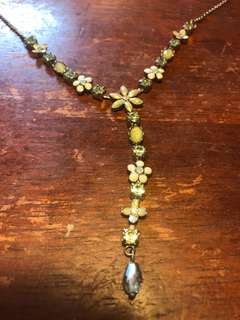 French enamel crystals necklace