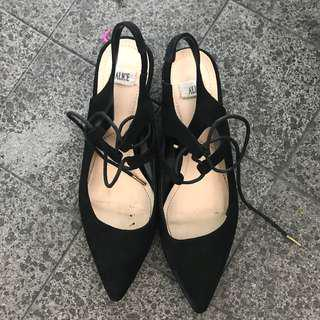 Mary Janes Tie Lace Black Shoes