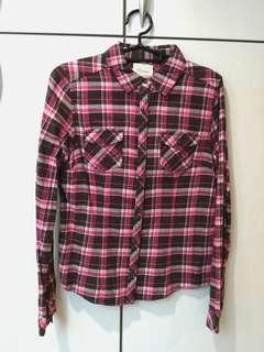 🚚 Lativ法蘭絨粉色格紋襯衫