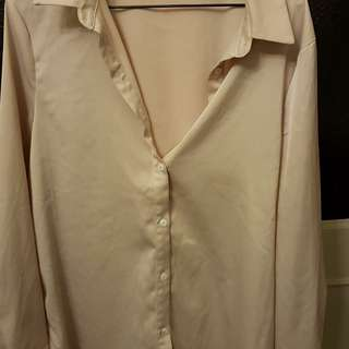 Missguided Creme Silk Button Up