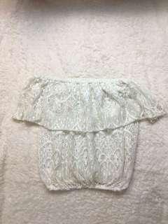 Off shoulder white lace