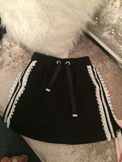 Black mini skirt sporty style adidas style