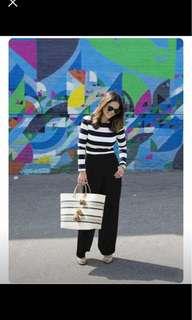 Stripes Long Sleeves top Black Pants terno