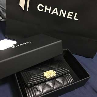 Chanel le boy cardholder