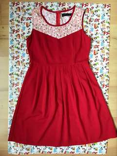 RED SMALL FLOWER DRESS