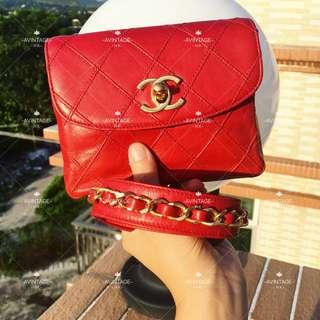 (SOLD)Chanel Vintage 紅色牛皮腰包