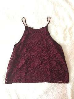 Red halter lace