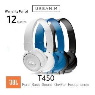 JBL T450 Pure Bass sound with 1-button remote with Microphone On-ear Headphones