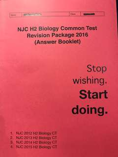 To BLESS: free NJC H2 2016 common test biology revision package answers