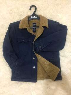 GAP Inner Fur Navy Blue Military Style Kid's Jacket