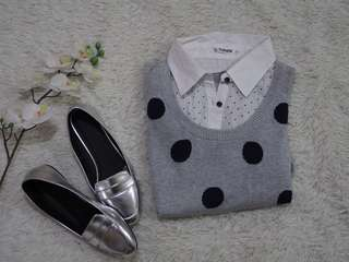 Polka Dot Grey Sweater