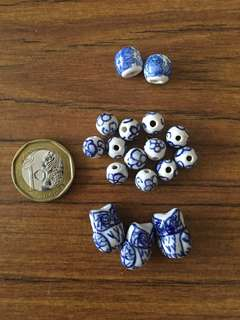 Blue and white Chinese beads