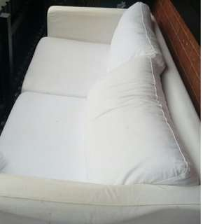 White 3 seater couch (incl an extra set of covers)