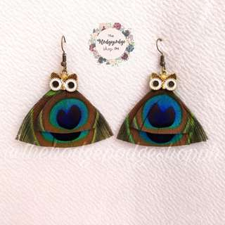 Unique Owl & Peacock Feather Dangling Earrings