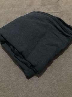 黑棉麻神腿落地褲