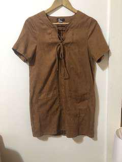 CAROLINE MORGAN | Suede-look Brown mini dress