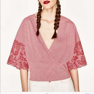 [SELL] ZARA RED EMBROIDERED STRIPE TOP