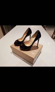 "Christian Louboutin Black ""New Very Price 120 Patent"" Heels Size 36.5"