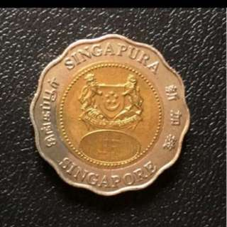 Coin - Singapore 2000 - Millennium 2000 $5 Bimetal Coin (UNC)
