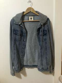 COTTON ON | Oversized Jersey denim jacket with detachable hood