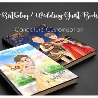 🚚 Birthday / Wedding Guestbook with customised Caricature Image & Text