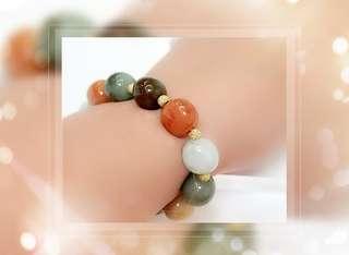 全新品 天然A貨緬甸玉 彩色珠 配金砂金屬珠 手串一條 手圈 内圍直徑 size: 5cm   B-23