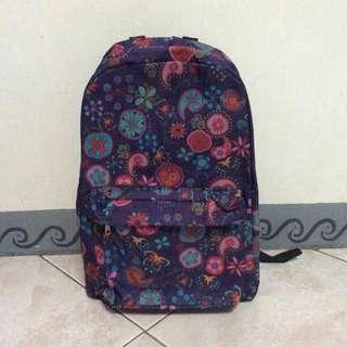 Floral Dark Violet School Bag