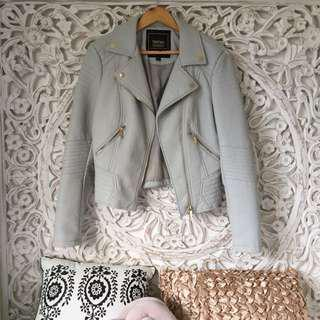 NEW Grey Leather Moto Biker Jacket