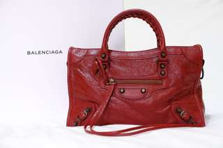 BALENCIAGA Red Classic City Tote Bag