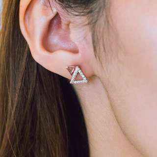 🚚 White Cubic Zirconia Rose Gold Geometric Earrings [Chrystalle Earrings]
