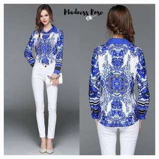 Blue White Flower Shirt