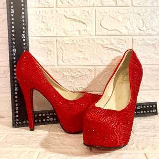 🚚 出清手藏展示鞋超閃手工貼鑽 重工水鑽鞋滿鑽鞋