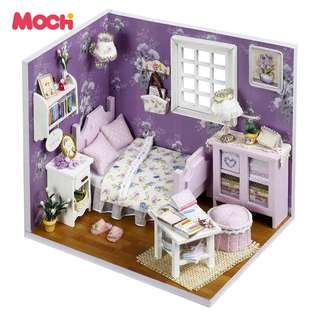 DIY Doll House Furniture LED Light Miniatura DIY Sweet kids's Girl Craft Toy MOC