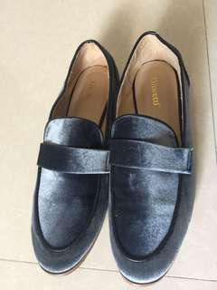 Loafer mules woman blue velvet shoes/  zara / loafers /