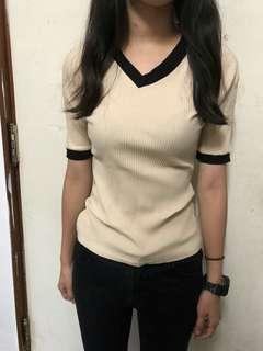 全新 春夏女裝韓版撞色氣質v領短袖上衣T-shirt