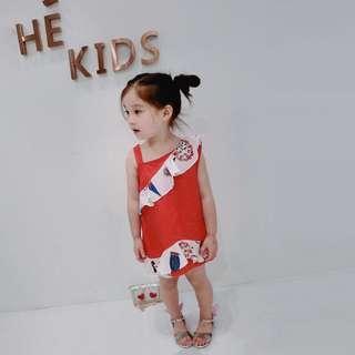 🚚 春夏新款 韓版 女童氣質拼接雪紡塗鴉風格洋裝