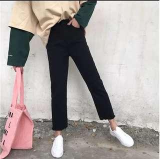 Ss🖤6/30韓版高腰顯瘦直筒九分牛仔褲