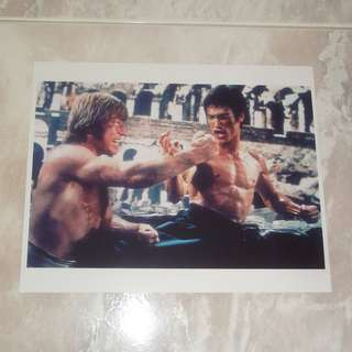 "Bruce Lee Way Of The Dragon 8 x 10"" Color Photo 李小龍 猛龍過江 Chuck Norris Colosseum Rome"